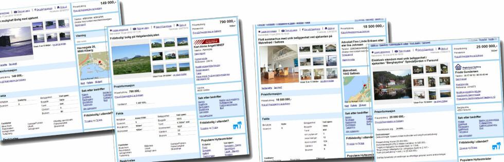 HYTTE MED STRANDLINJE: Du trenger ikke være mangemillionær for å kjøpe hytte med strandlinje, men det gjør jo noe med kvaliteten. Foto: Finn.no