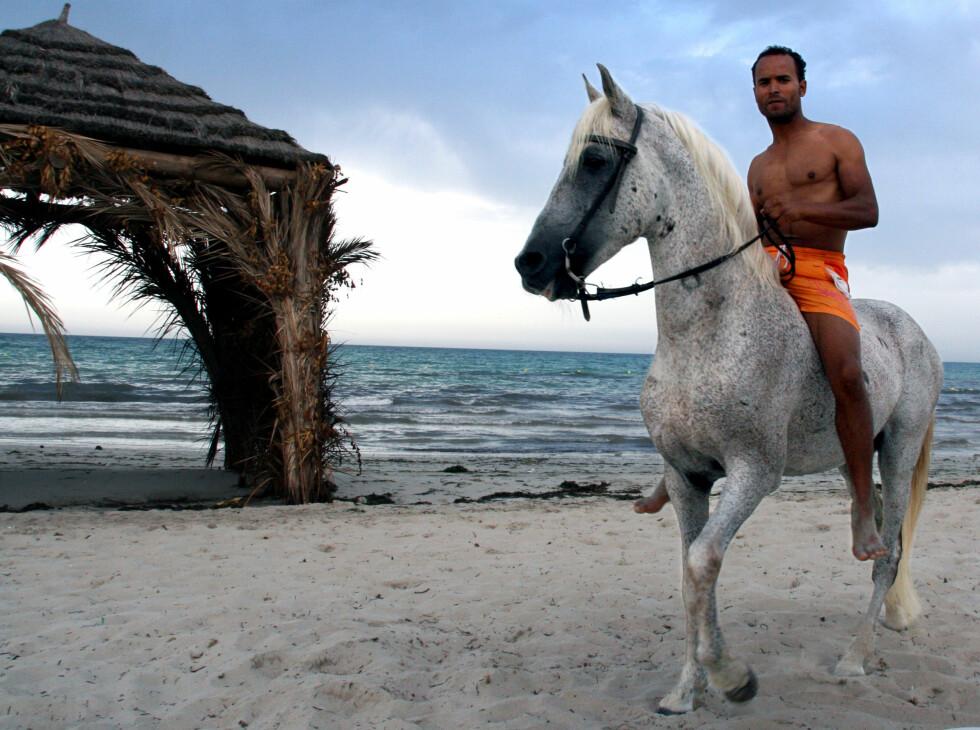 Denne mannen vil gjerne låne deg hesten sin, mot noen få dinarer. Foto: Kim Jansson