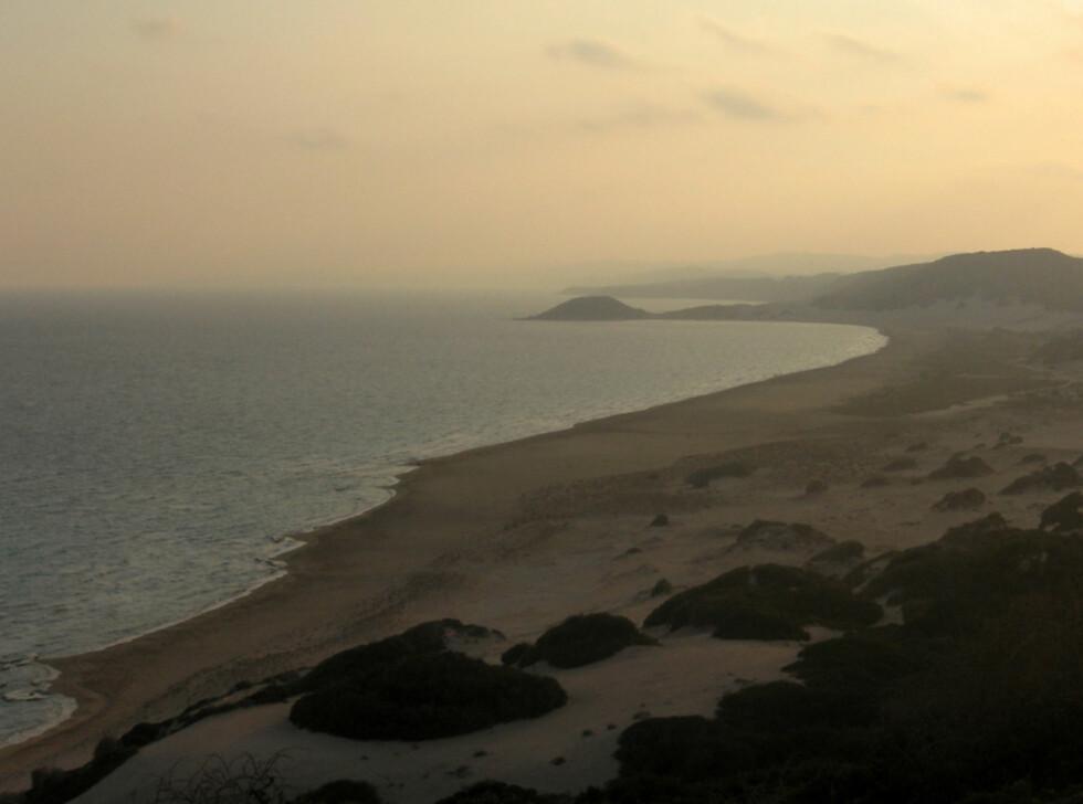 Vil du se Middelhavets kanskje flotteste strand, reiser du til det øde nord og Golden Beach. En fin dagstur fra Protaras om du starter tidlig. Golden Beach er en stor strand med mye boltreplass. Her fotografert i solnedgangen. Foto: Franco Pecchio