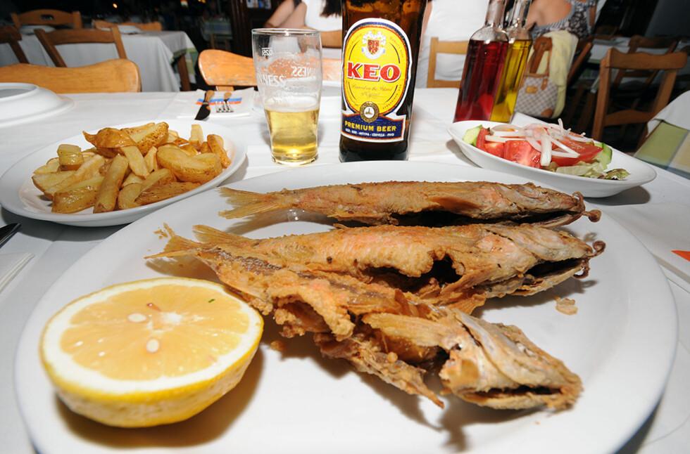 Prøv den lokale maten selv om den ikke alltid ser så delikat ut. Fisk er spesielt godt på Kypros, naturligvis. Foto: Hans Kristian Krogh-Hanssen