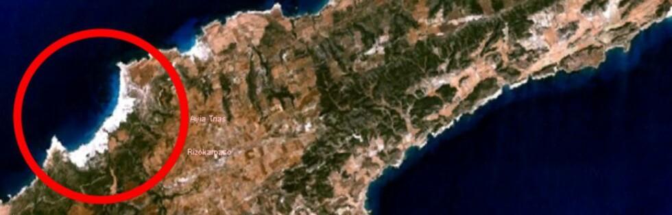 Nesten helt ute på Kypros' nordøstlige spiss ligger Golden Beach. Foto: NASA Worldwind