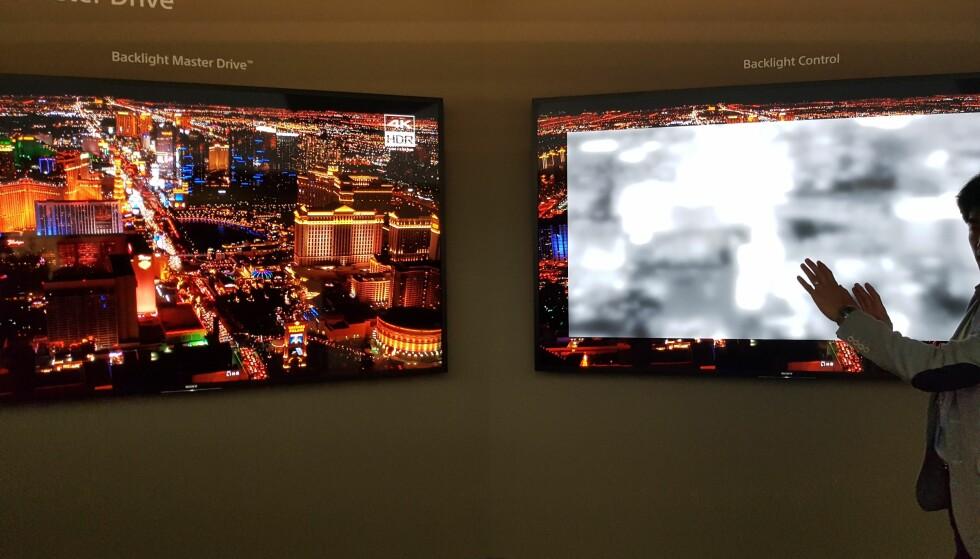 MANGE DIODER: På TV-en til høyre simuleres hvordan diodene bak lyser opp TV-bildet. Foto: Pål Joakim Olsen