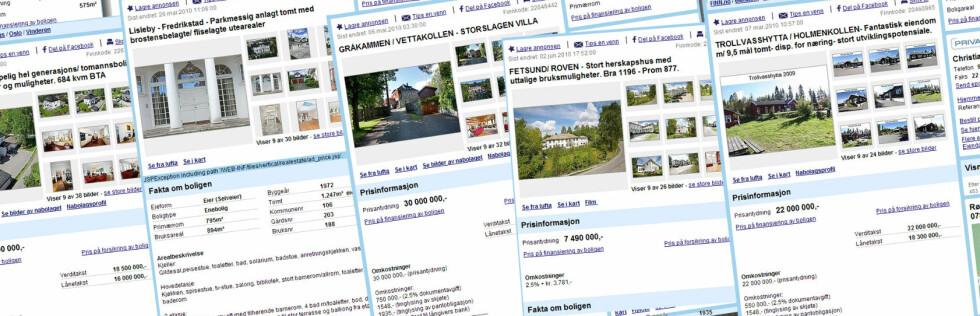STORT: Her er noen av de største bolighusene til salgs i Norge per i dag. Aller størst: 1.325 kvadratmeter ved Lillevann, Holmenkollen.  Foto: Finn.no