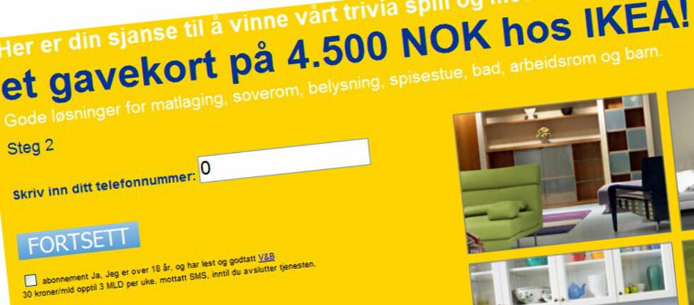 Dette er et forsøk på å få deg til å abonnere på en sms-tjeneste der hver melding koster 30 kroner. Foto: Trivicell.com