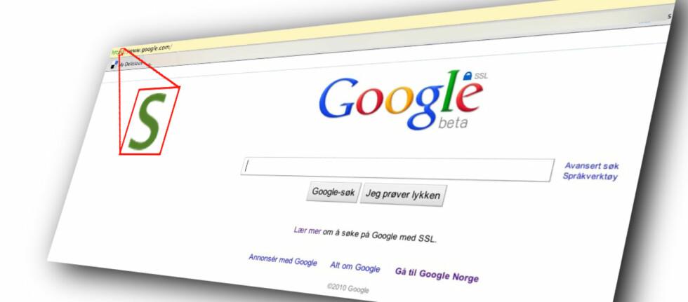 ET S I ERMET: Én ekstra bokstav er alt som skal til for å ta deg til Googles nye, krypterte søkeside.
