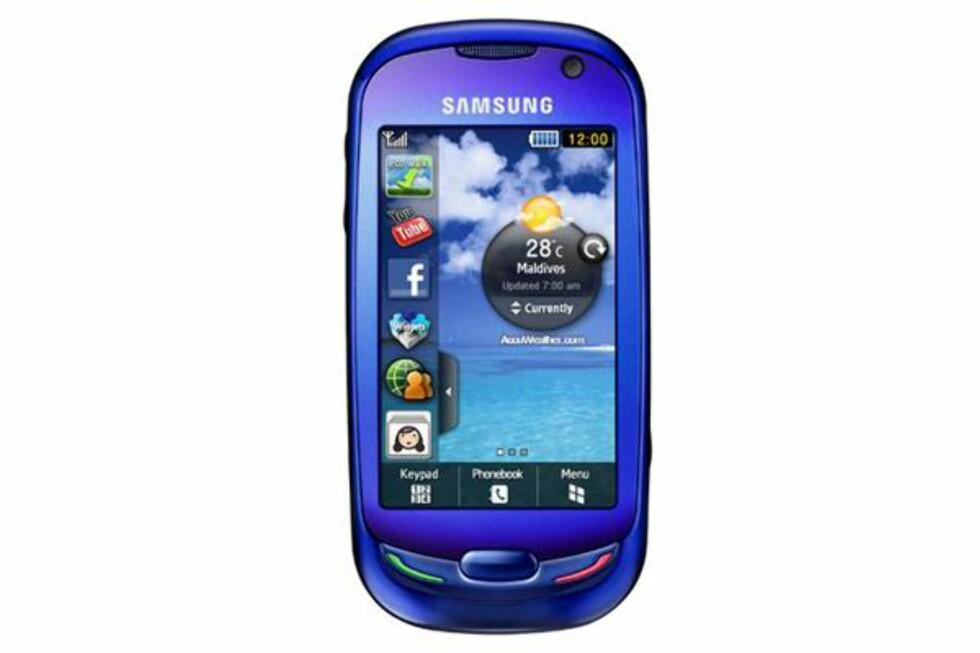 Mobiltelefon fra Samsung (S7550), selges blant andre hos Elkjøp (3.549 kr), Expert (3.549 kr) og Lefdal (3.295 kr).