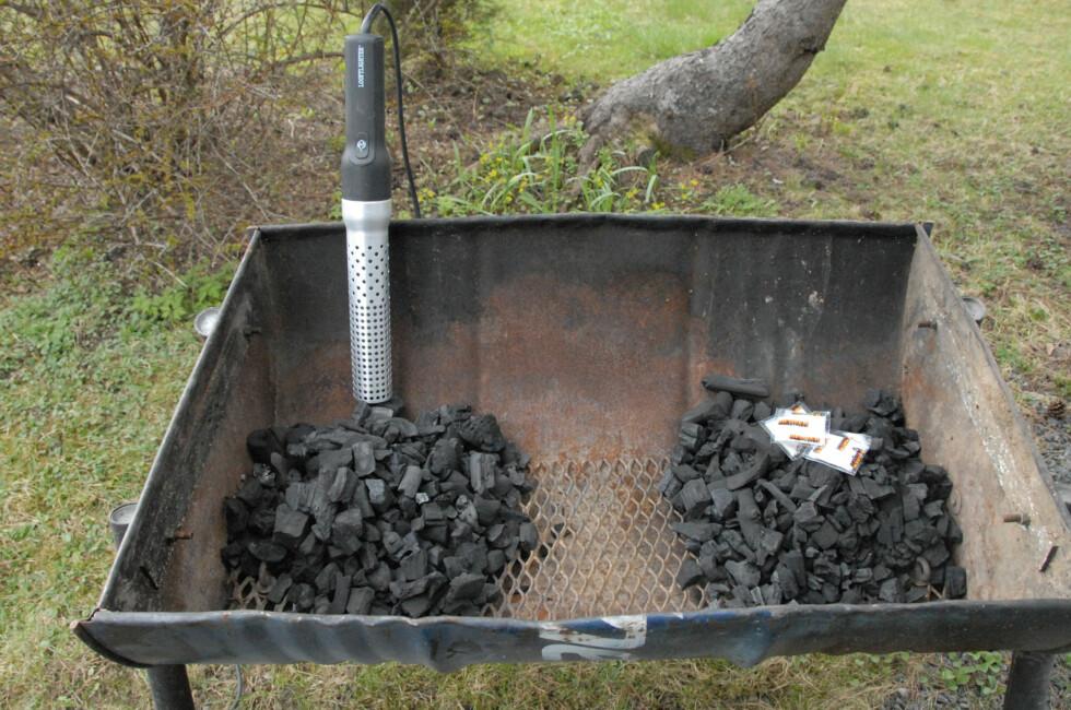 Vi har testet to av kullgrillhjelperne som er på markedet.  Foto: Brynjulf Blix