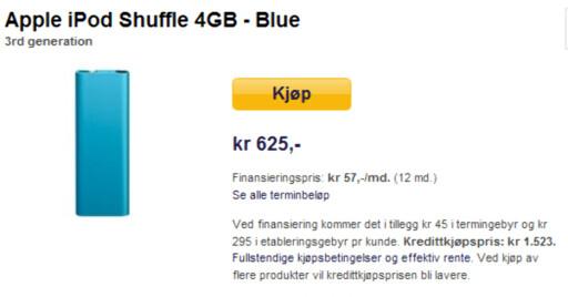 Hos komplett.no slipper du unna med 625 kroner for en iPod Shuffle 4GB.
