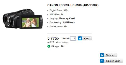 Men skal du kjøpe et Canon Legria HF-M36 videokamera, lønner det seg å handle på ludomegastore. Her selges produktet for 5.775 kroner.