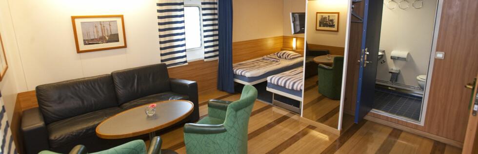 LUGARSJEKKEN: Det beste på Stena Saga: Captain's Class minisuite med fire sengeplasser. Foto: Per Ervland