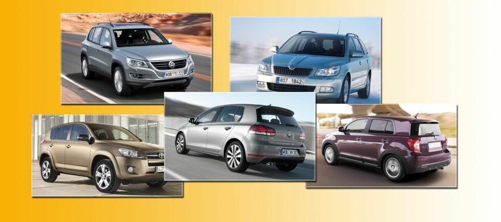 Hvis annenhåndsverdi er viktig for deg, vil disse fem bilene i henhold til LeasePlan være meget smarte kjøp. Oppe fra venstre: Volkswagen Tiguan og Skoda Octavia stasjonsvogn. Nede fra venstre: Toyota RAV4, Volkswagen Golf og Toyota Urban Cruiser. Foto: Jogrim Aabakken