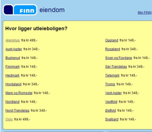 Oslo- og akershusfolk må betale tre ganger så mye for annonsen på Finn.no, som for eksempel øst- og vestfoldinger. Foto: Finn.no