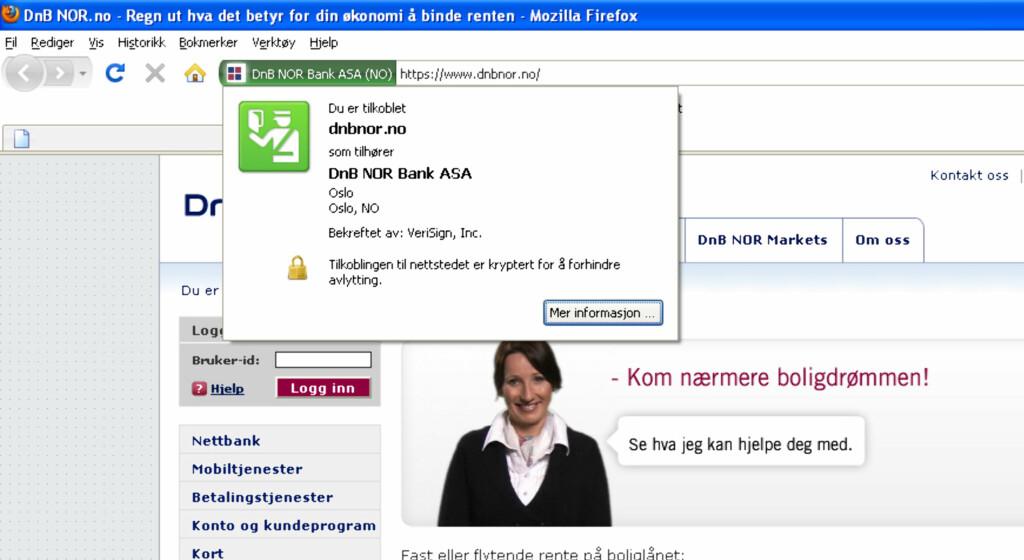 Den grønne delen av adresselinjen viser at nettstedet er EV-sertifisert. Trykker du på det grønne feltet, finner du ut hvilket selskap som har gått god for nettsiden. Foto: Firefox/DnB Nor