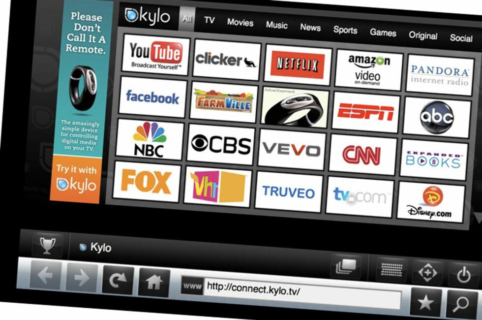 Stor skrift og store ikoner gjør Kylo velegnet for surfing på TV.