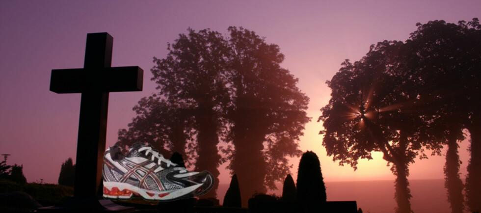 Har vi i 40 år har blitt lurt til å kjøpe dyre sko med støtdemping, luftputer og andre finesser? Fotomontasje Foto: Colourbox.com og
