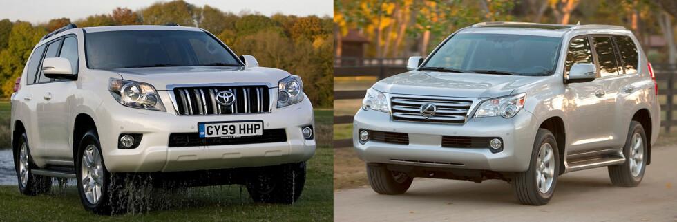 Det amerikanske forbrukermagasinet Consumer Report fraråder amerikanere å kjøpe Lexus GX 460 (til høyre). Toyota har nå stanset salget av modellen både i Nord-Amerika, Midtøsten og Russland. I Norge og Europa forøvrig selges bilen under betegnelsen Toyota LandCruiser.