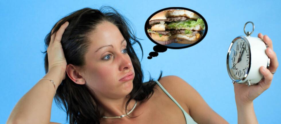 Personer som sover rundt fire timer om natten har en tendens til å spise om lag 500 kcal mer per dag enn de som sover åtte timer om natten (fotomontasje). Foto: Colourbox.com