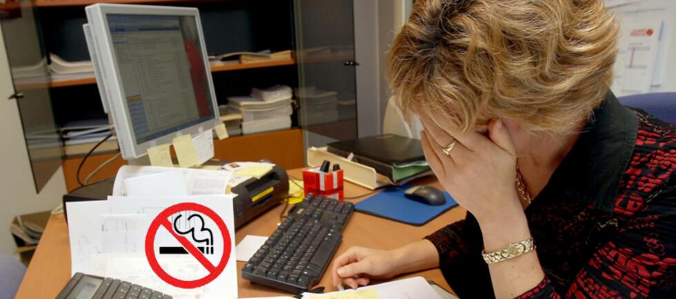 Mye jobb kan føre til at ansatte bare får røykt i fritiden sin, og dermed blir de mindre avhengig. Foto: Colourbox.com og Wikipedia