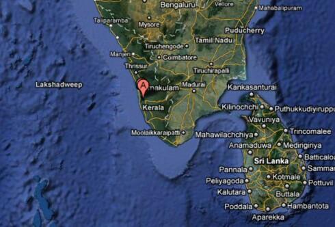 Her, i Indias sørvestlige hjørne, ligger staten Kerala. Markeringen viser Vembanad Lake. Foto: Google Maps