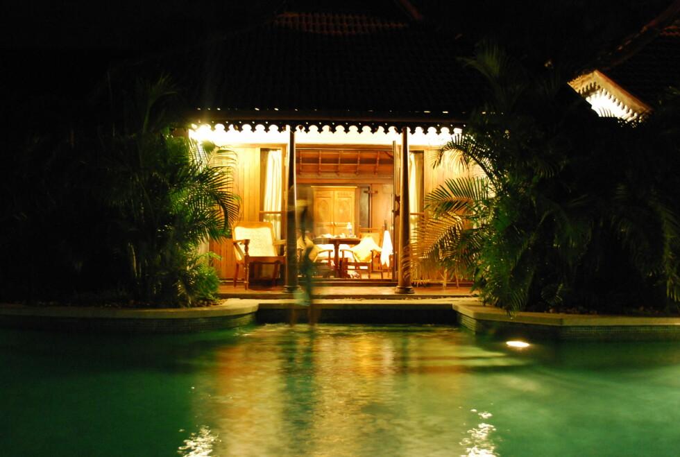 Kumarakom Lake Resort er et av Indias flotteste hoteller. Alle Pool Villas har direkte adgang til det 250 meter lange bassenget som slynger seg gjennom resortet. Foto: Thomas Helseth Aastad