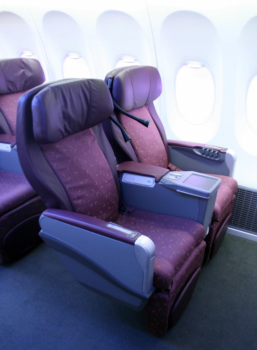 Businessklasse-seter kan implementeres, men du vil nok neppe se slike seter på SAS og Norwegians sine 737-maskiner i nærmeste fremtid. Foto: Kim Jansson