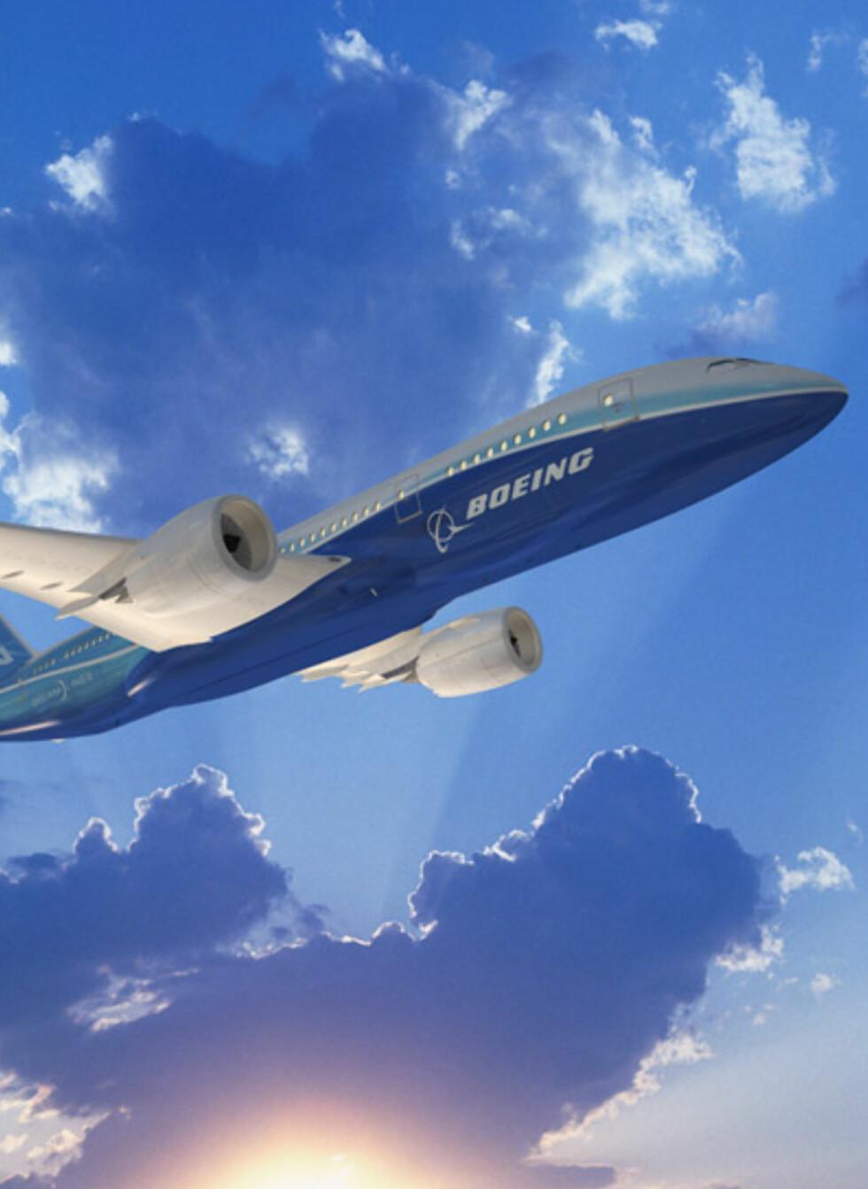 Slik ser Dreamlineren ut på Boeings konseptbilder. Flyet hadde sin jomfrureise i desember i fjor, og er ventet å bli levert til flyselskapene mot slutten av 2010. Foto: Boeing