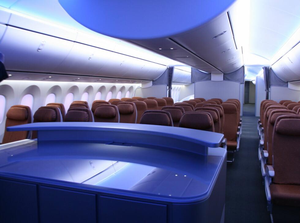 Konsept av økonomiklasse. Setene vil naturlig nok bli endret etter flyselskapenes ønsker. Foto: Kim Jansson