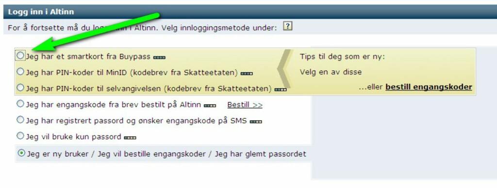 Går du inn på Altinn.no, kan du velge å benytte smartkort fra Buypass. Foto: Altinn.no