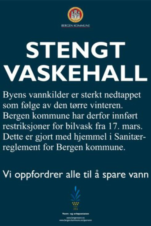 Bergenserne må ty til kraftige tiltak for å hindre vannmangel. Foto: Bergen Kommune