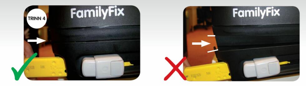SLIK SER DE DET: Mellomrommet skal avsløre for kontrolløren at basen er av de med festeproblemer. Bildene er hentet fra PDF-brosjyren Maxi-Cosis instruksjonsbrosjyre for hvordan festebasene skal kontrolleres. Foto: Produsenten