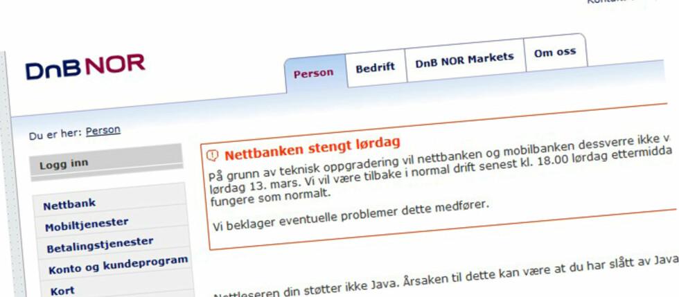 HOLDER STENGT: Av og til må også nettbanken holde midlertidig stengt. I morgen er det DnB NOR og Postbanken som lukker dørene.  Foto: www.dnbnor.no