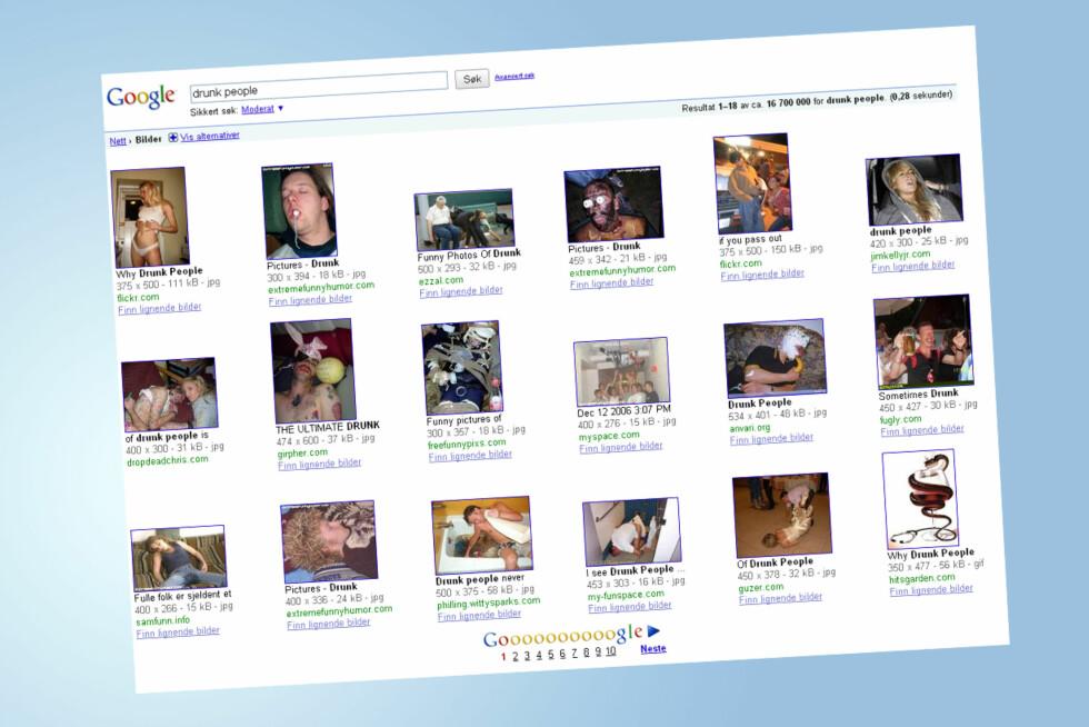 IKKE SÅ VELDIG STOLT AV FACEBOOK-BILDENE?: Legger du ut bilder av deg selv på nettet, er det mulig at for eksempel fremtidige arbeidsgivere kan finne dem.  Foto: Google.no