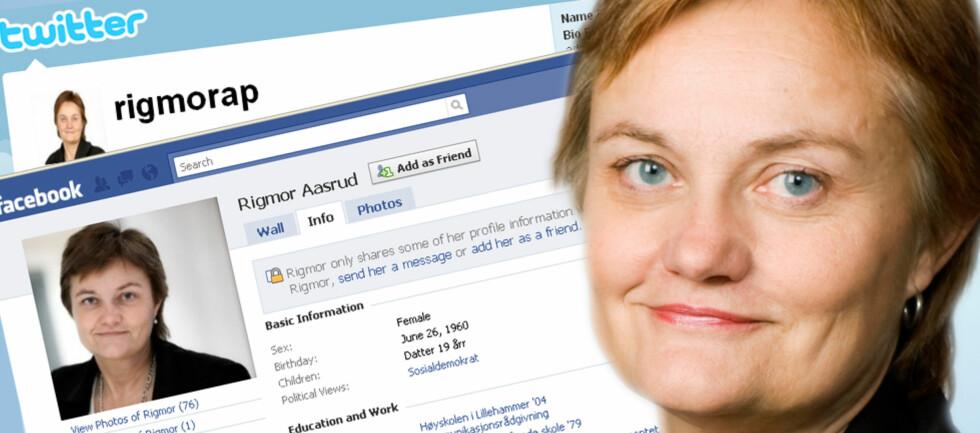 Fornyings-, administrasjons- og kirkeminister Rigmor Aasrud har profiler på både Twitter og Facebook. Ved hjelp av Slettmeg.no skal hun lære hvordan hun kan få bedre kontroll over informasjonen som ligger tilgjengelig på nettet. Foto: Twitter og Facebook/Berit Roald/DinSide