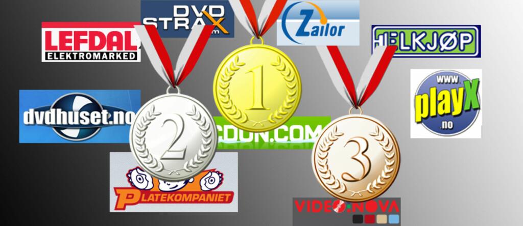 CDon.com vant vår uhøytidelige avstemming overlegent, mens platekompaniet.no og videonova.no tok henholdsvis sølv- og bronsemedalje. Foto: Jogrim Aabakken