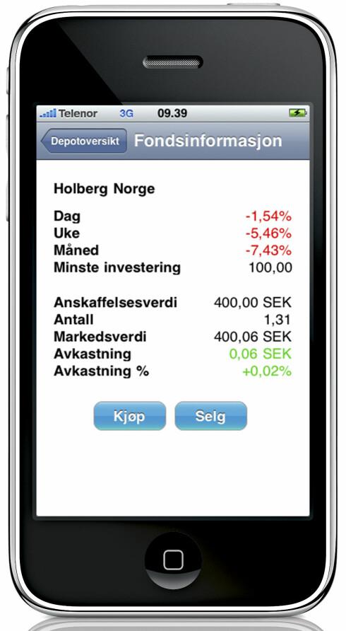 <strong><b>SJEKK KURSEN 2:</strong></b> Nordnets fondsinformasjon for iPhone.