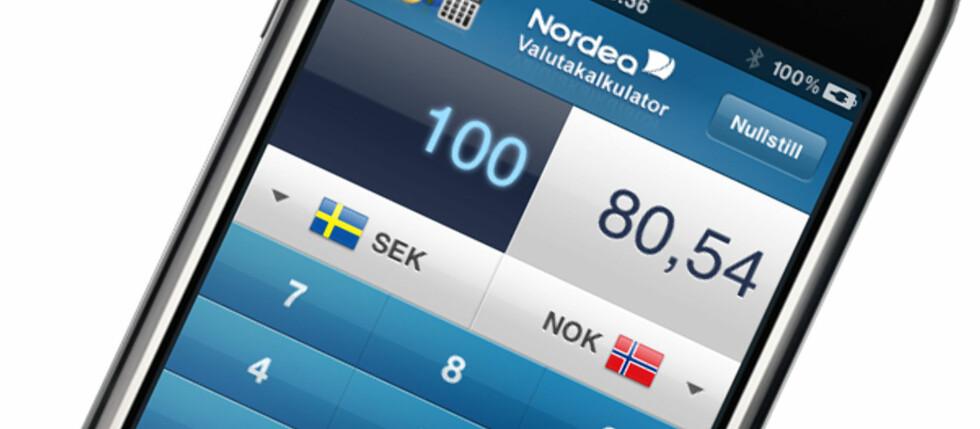 Dagens valutakurser er noe av det Nordea tilbyr med sin nye iPhone-applikasjon. Foto: Nordea