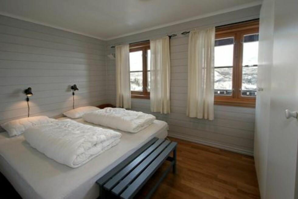 Alle leilighetene har ett dobbeltrom. Foto: Skarsnuten Hotell