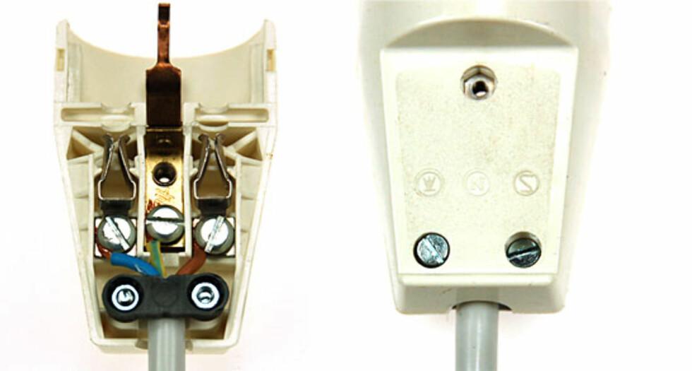 Husk å skru til strekkavlastningen som sikrer at ledningene ikke trekkes ut!