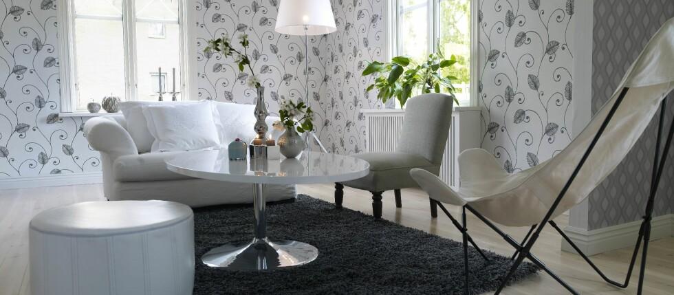 Til stuen kan du benytte de fleste typer tapeter.  Foto: Borge