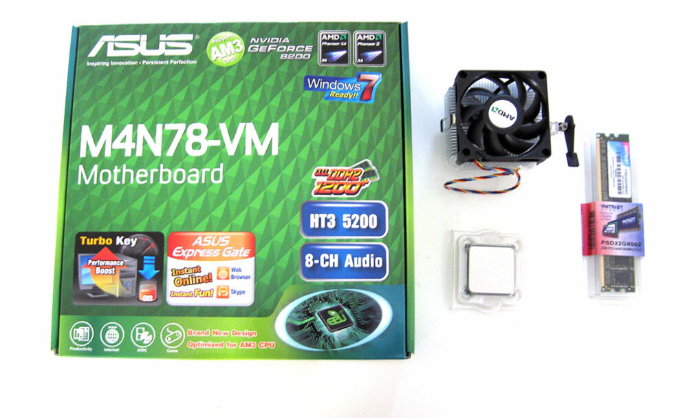 Pakken vår har vi kjøpt fra PS.no. Hovedkortet kostet 497 kroner, prosessoren 265 kroner, og 2 GB minne 333 kroner - totalt 1095 kroner.