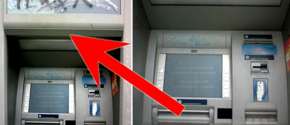 <strong><B>SKIMMING:</strong></B> Denne minibanken er utstyrt med utstyr som kan bli brukt til å svindle uvitende kortbrukere. Foto: Mikko H. Hypponen