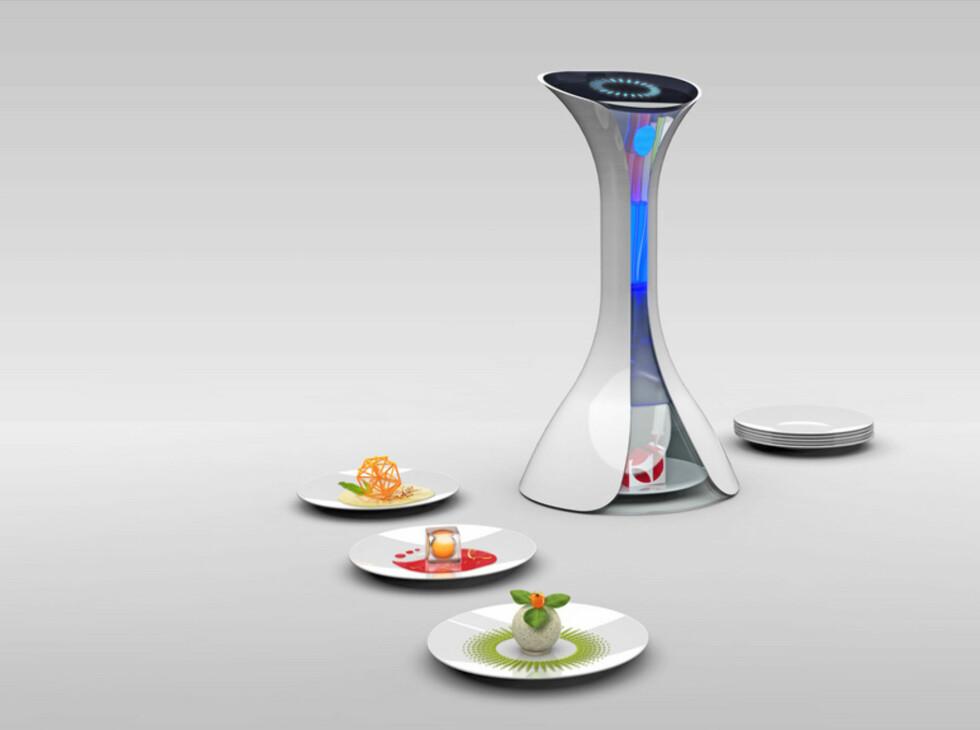 Moléculaire av Nico Kläber, Tyskland. Denne dingsen skulle passe fint i i hektiske hverdagsliv, der tid til matlaging ikke blir prioritert. Matprinteren kan lage de mest kulinariske retter av så godty som ingen ting. Praktisk? Absolutt! Realistisk? Nei!
