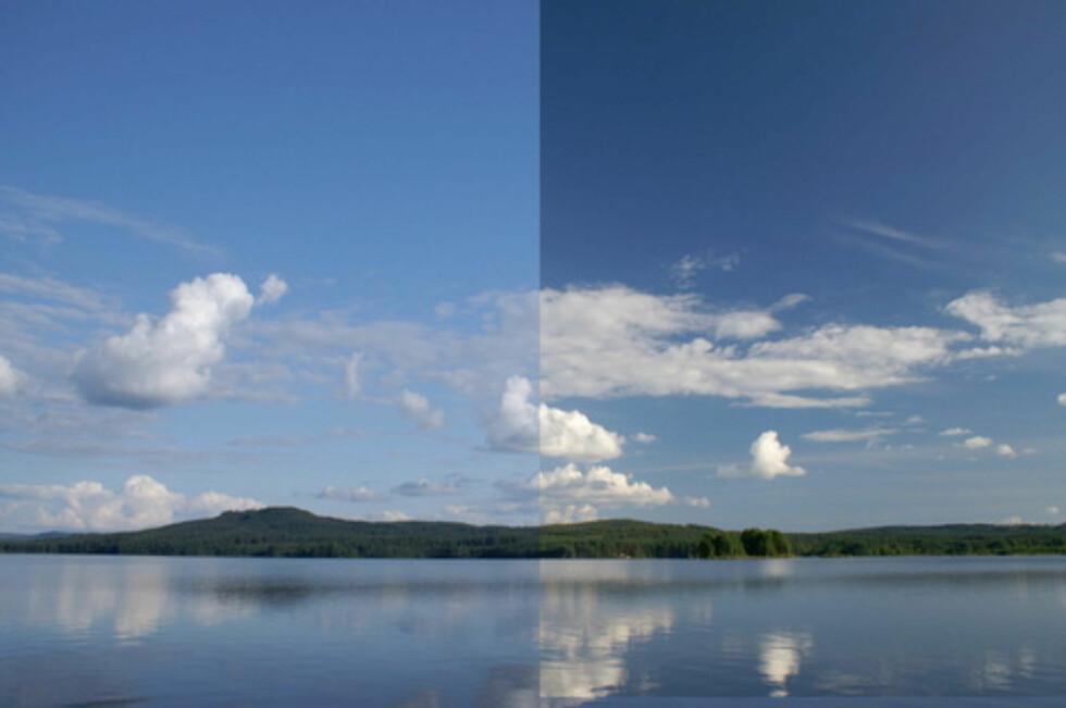 Høyre del av bildet er tatt med polariseringsfilter Foto: Arne Christian Jervell