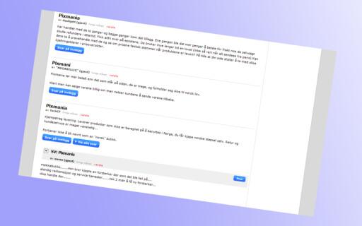 En rekke DinSide-lesere hevder at de har hatt dårlige erfaringer med Pixmania. Her noen av innleggene som kom i tilknytning til  vår pristest av PC-skjermer. Foto: DinSide
