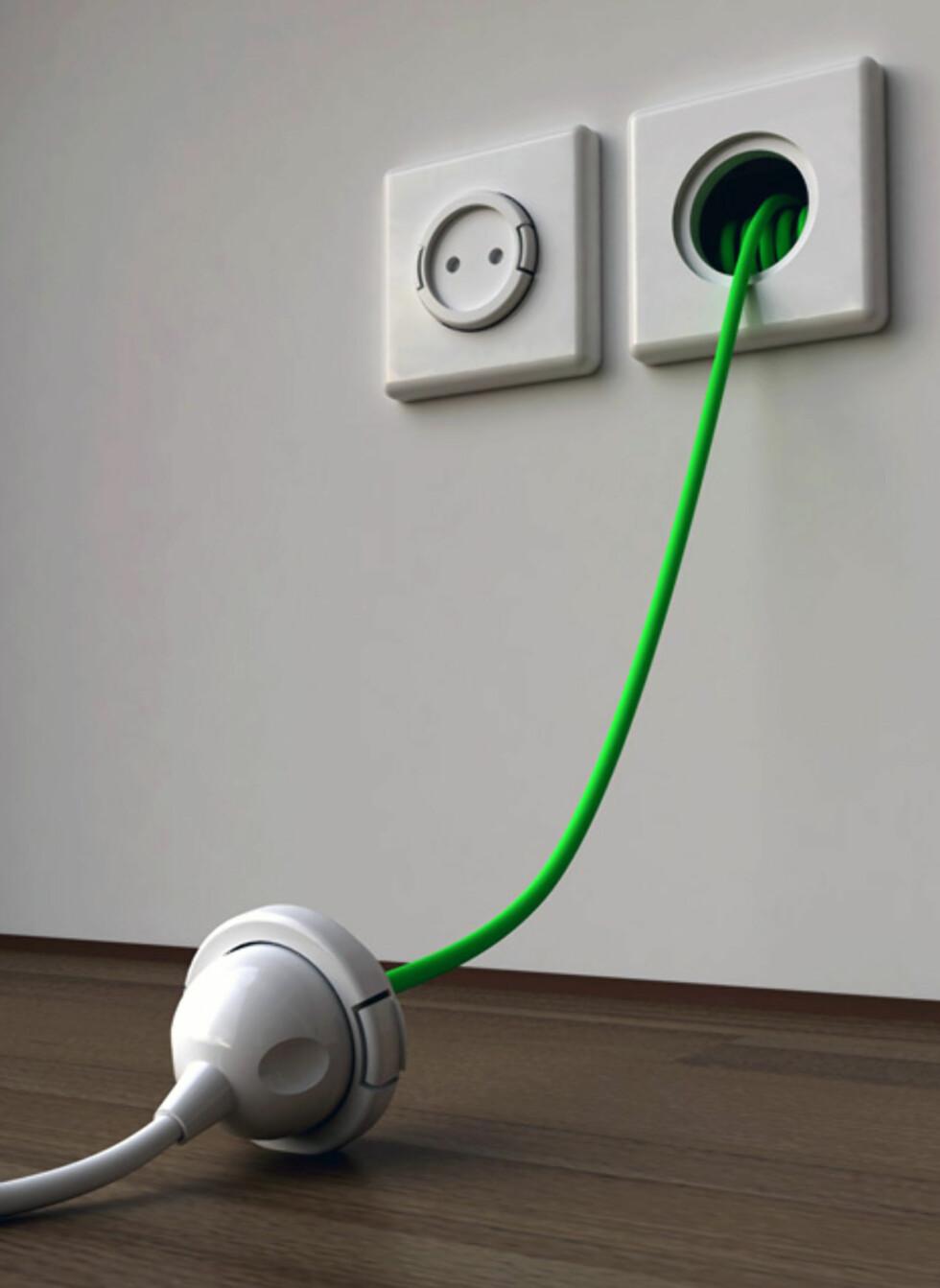 RETT UT: Dette bildet viser ikke alt, men det gjør heller ikke denne uttakbare strømledningen når den ikke er i bruk. Se bildespesialen midt i artikkelen for den hele og fulle sannheten.