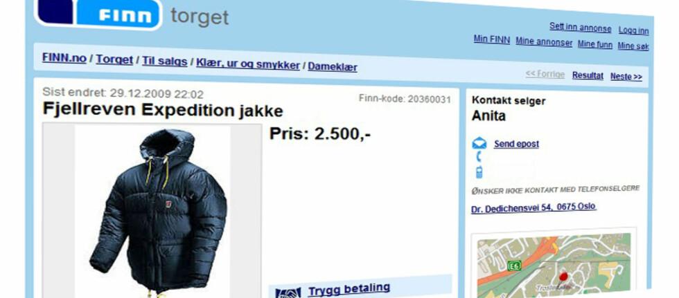 Du finner mange rimelige dunjakker, både brukte og ubrukte på Finn.no. Denne koster 4.500 kroner ny i butikk. Foto: Finn.no