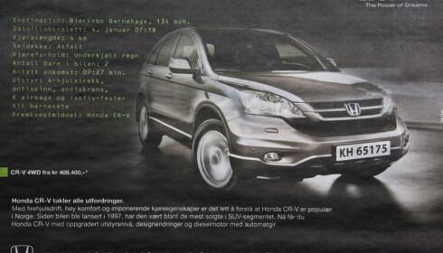 <strong>TVILSOM MARKEDSFØRING:</strong> I likhet med alle andre biler vil Honda CR-V få store problemer på underkjølt regn, som skaper ekstremt farlige kjøreforhold. I en Honda-annonse hevdes imidlertid det motsatte. (FAKSIMILE: Aftenposten)