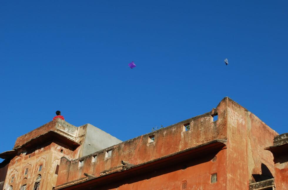 Drageflyvning er populært i hele India. Her står noen gutter og morer seg på takene i Jaipur. Foto: Thomas Helseth Aastad