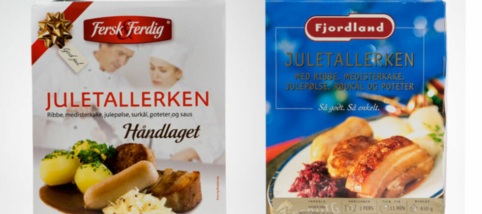 «Fersk og ferdig» eller «Fjordland» - hvilken ferdig juletallerken er best? Foto: Per Ervland