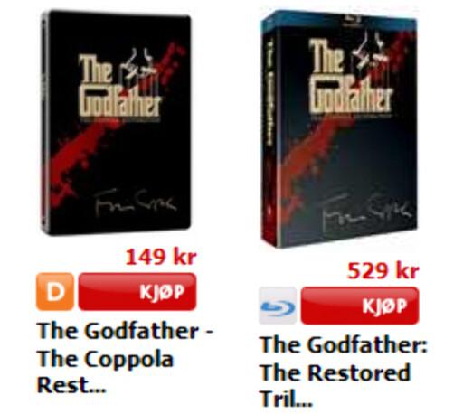 Ekstremt eksempel: Hos CDon.no slipper du unna med 149 kroner for den restaurerte Gudfaren-trilogien i DVD-format. Som Blu-ray koster de samme filmene 529 kroner - nesten fire ganger så mye. Foto: CDon.no